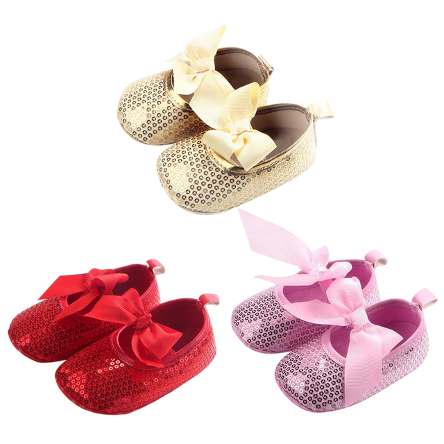 5 Colors Newborn Baby Cute Shoes Girls Big Bowknot Sequin Toddler Shoes  Baby First Walker Shoes 312c3751daba