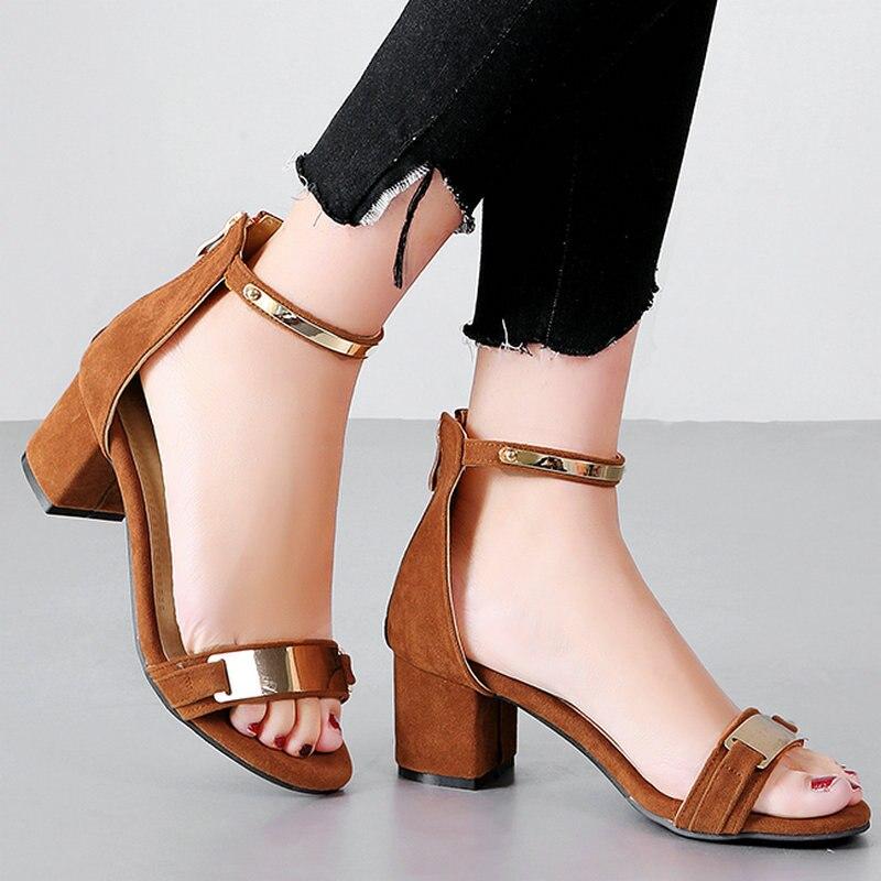 ФОТО  AIWEIYi 2017 Women Sandal Square High Heel Platform Women Shoes Flock Ankle Strap Elegant Ladies Wedding Shoes Size 34-47