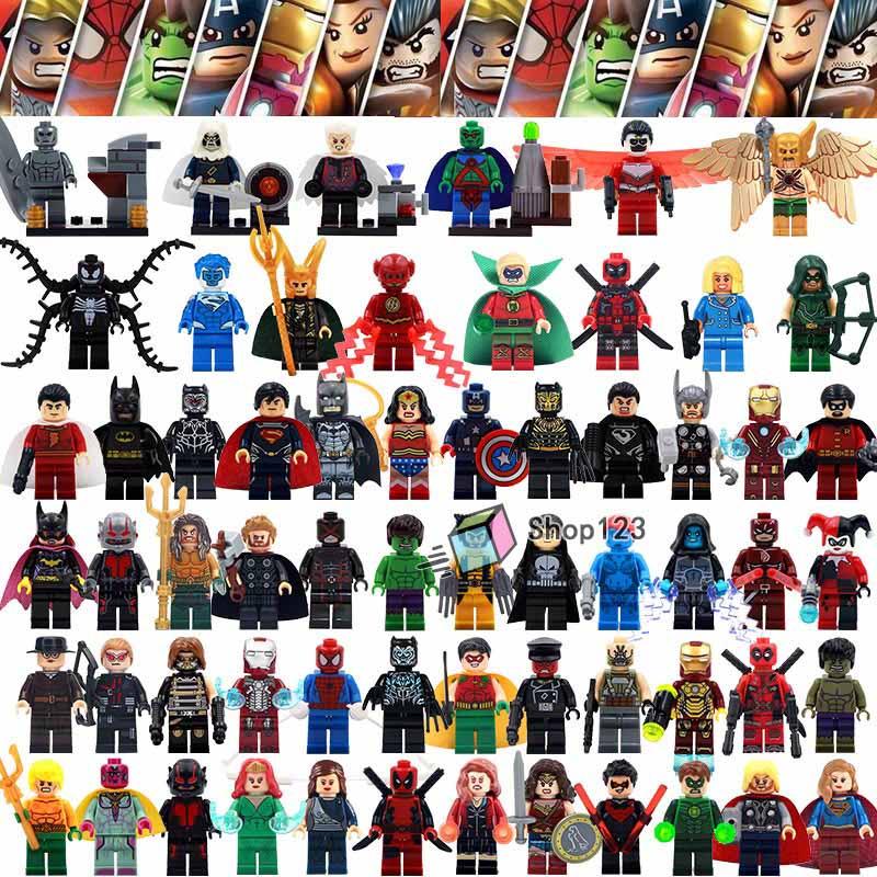 62pcs/lot Building Blocks Marvel endgame Super Heroes Spiderman Hulk Thor Flash Man DC Batman Deadpool Toys for Children