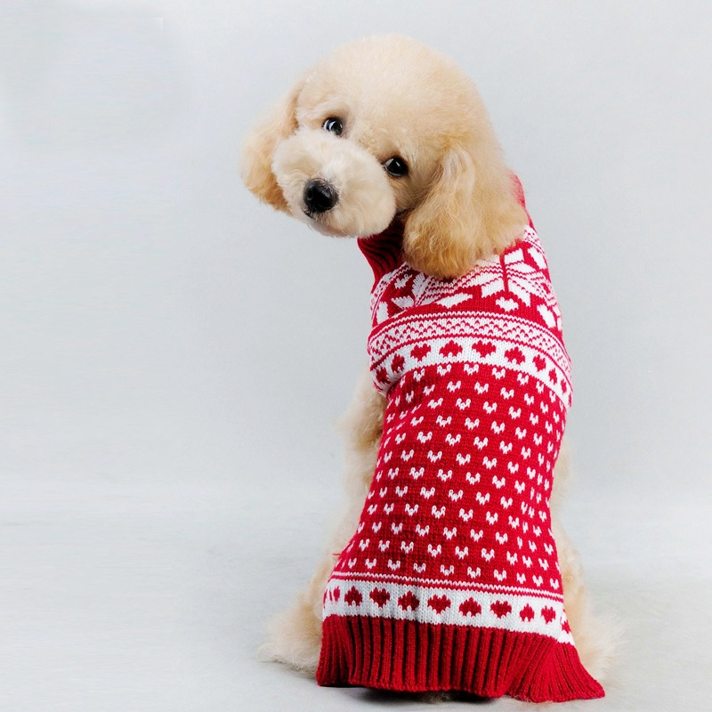2017 Christmas Red Floral Sweet Autumn / winter Malé oblečení pro psy Princezna Snowflake Psí svetry pro malé psy Vánoce