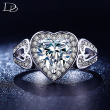 luxury CZ diamond jewelry rings for women romantic wedding ring white 585 gold plated heart engagement crystal anillos DD193