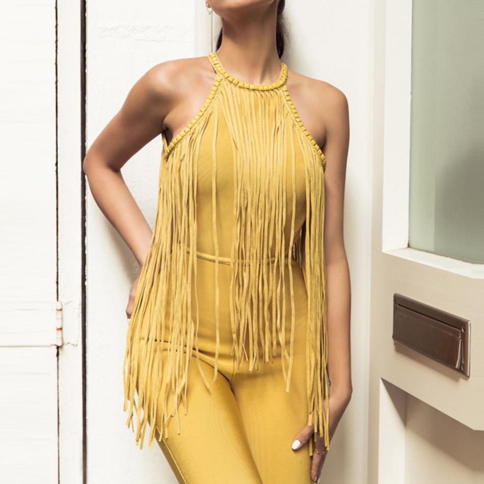 Party Adyce Élégant Celebrity Femmes Fringe yellow 2018 Nouveau Body Nu Jaune Halter Club Sexy Black Glands Bandage Combinaisons Dos Salopette XrwrZ6q