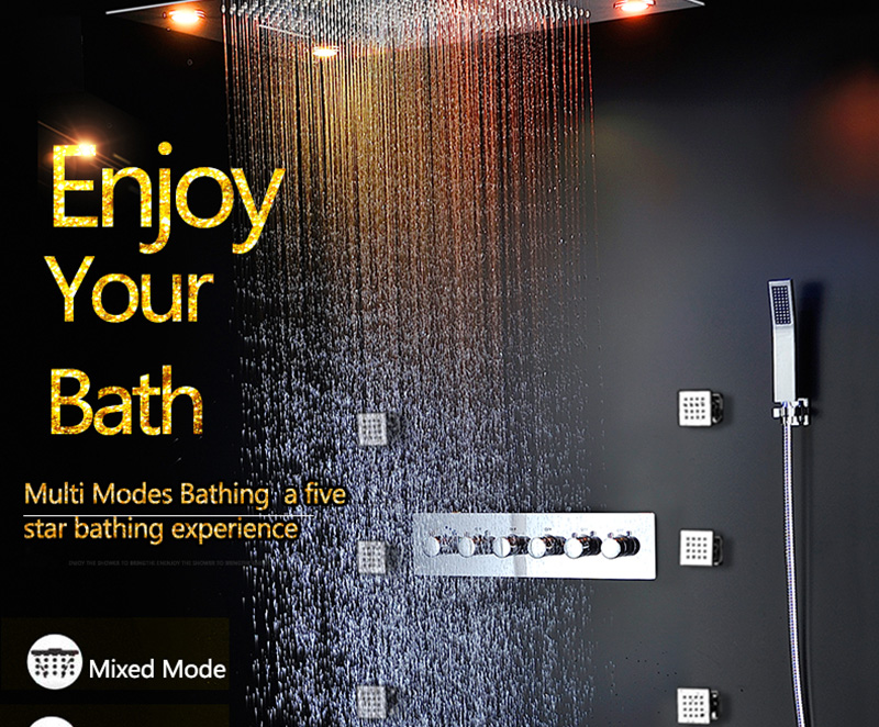 Bathroom Fixture Shower Faucets Ceiling Mounted Waterfall Mist Shower Head Big Rain LED Shower Set High Flow Thermostatic Bath (5)