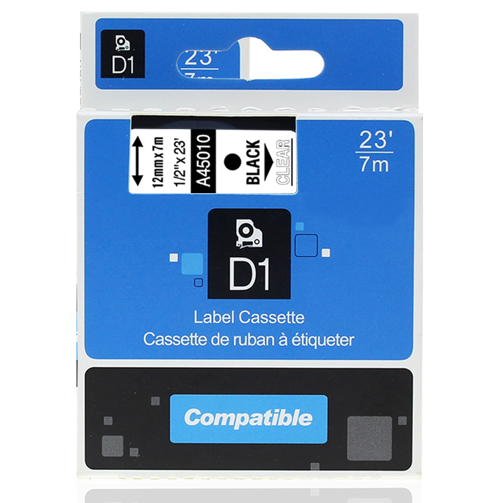 """4 Packs for Dymo 45010 D1 Tape Cartridge for Label Makers Black on Clear 1//2/"""" w"""