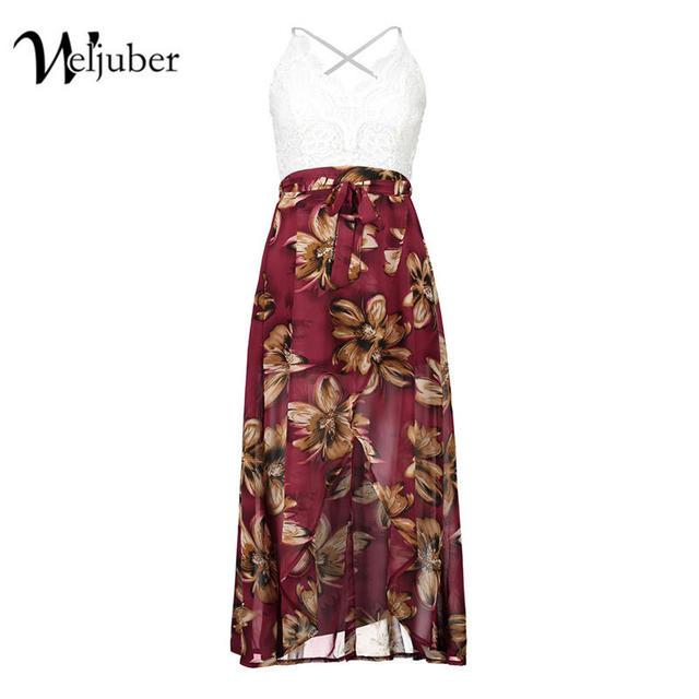 Weljuber Women Lace Dress Bohemian Split Dress Beach Boho Maxi Dress 2017 Summer High Quality Deep V-neck Print Long Dresses