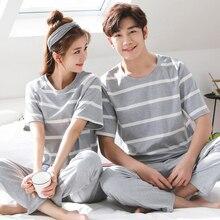 100% Cotton Couple Pajama Sets Short Sleeve Striped Womens Pajamas Set Casual Indoor Clothing Pyjamas Women Summer Style