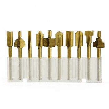 цена на 10pcs/set HSS Titanium Router Bits Wood Cutter Milling Rotary Tool Engraving Machine Knife Sharpening Slot set
