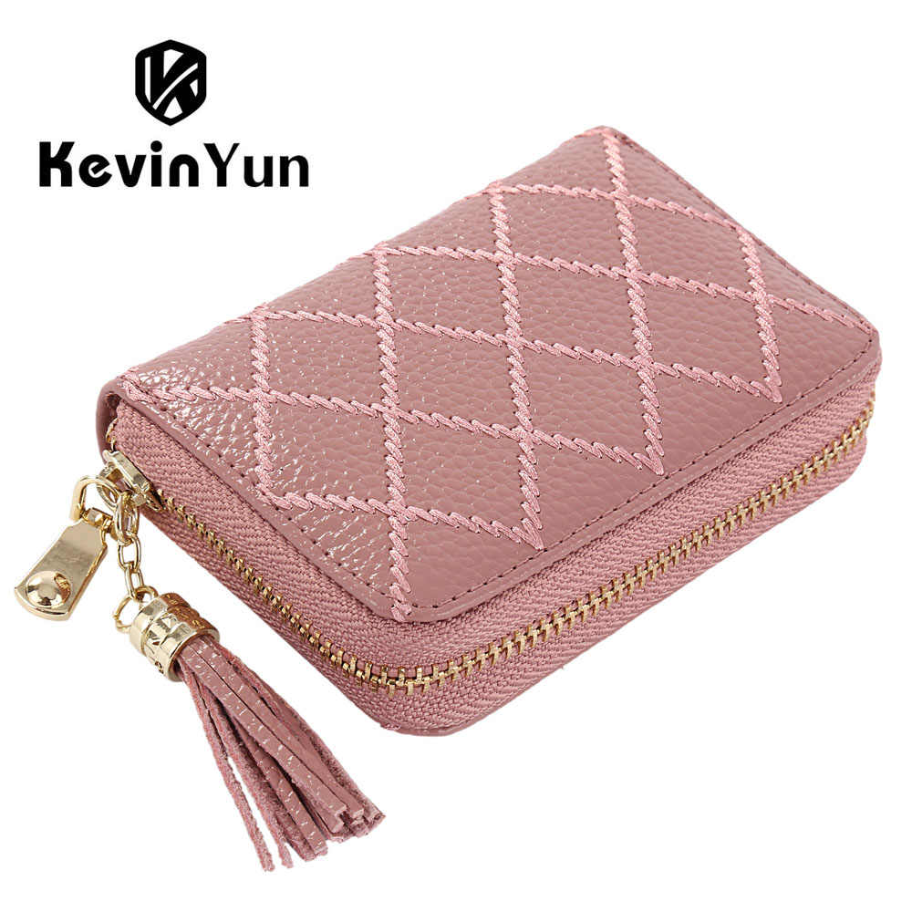 KEVIN YUN Designer Brand Women Credit Card Holder Genuine Leather Fashion Luxury Pillow Tassel Ladies Card Case Wallet Small