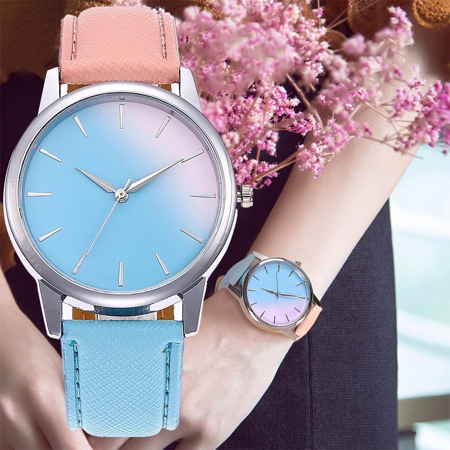 Women Fashion Retro Rainbow Design Watch Leather Band Analog Alloy Quartz Wristwatch Casual Women Dress Watches Reloje Mujer fabulous 1pc new women watches retro design leather band simple design hot style analog alloy quartz wrist watch women relogio