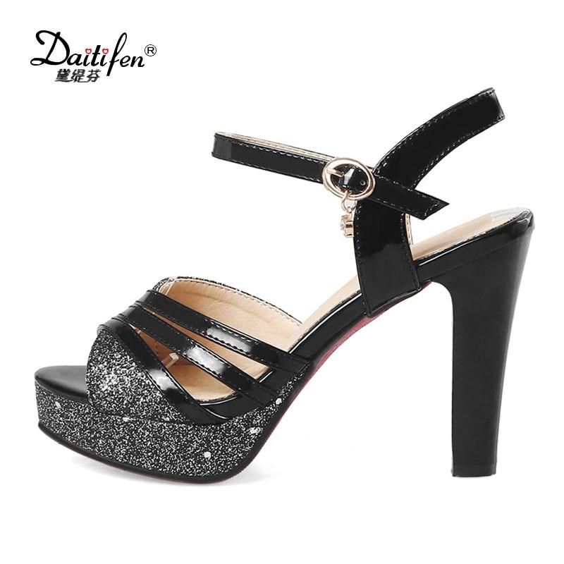 Daitifen Large size high Heels women Sandal sexy Peep toe Stiletto Ankle  strap shoes Wedding Party lady Glitter Platform Sandals - aliexpress.com -  imall. ... 6cae15bf43d9