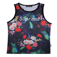 2018 New Classical Style Men Women Vest 3d Summer Cool Tank Tops Print Red Flowers Green