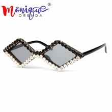 2018 triangle cut luxury Rhinestone cat eye sunglasses women small black vintage
