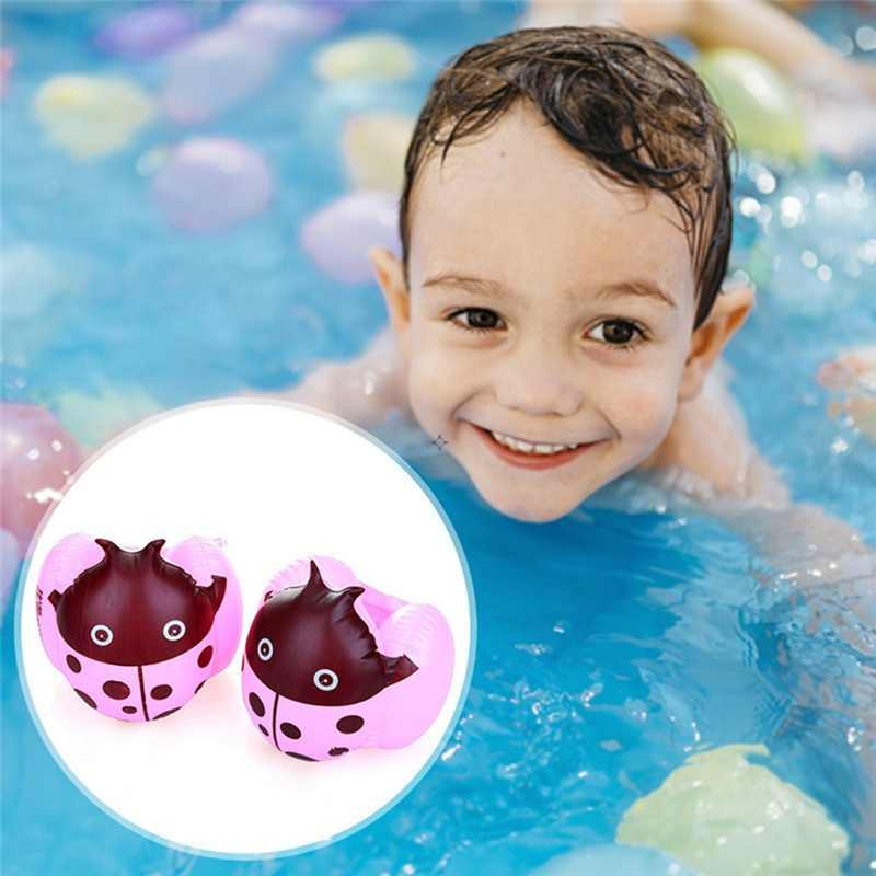 การฝึกอบรมว่ายน้ำเด็กวงแขนว่ายน้ำลอย Ladybug รูปร่างหนา Armbands Inflatable Floater เทรนเนอร์สระว่ายน้ำของเล่น