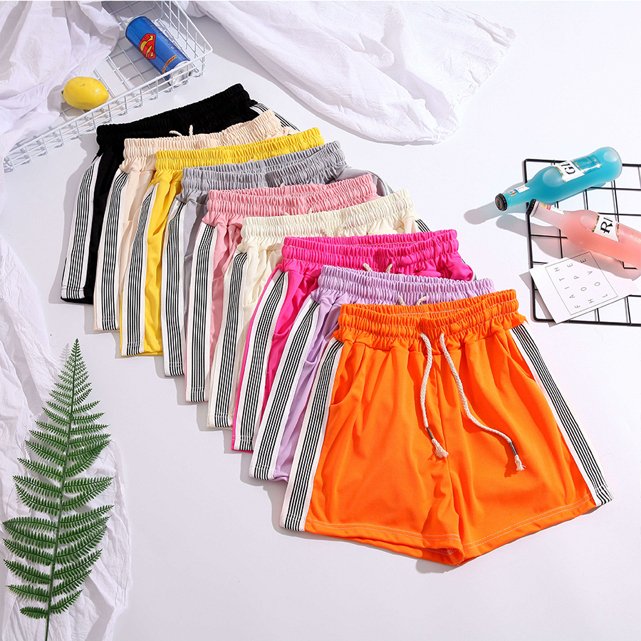 Striped Casual Shorts Women Elastic Simple Loose Slim Lace Up Summer Shorts Ladies Fashion High Waist Plus Size Shorts 2XL