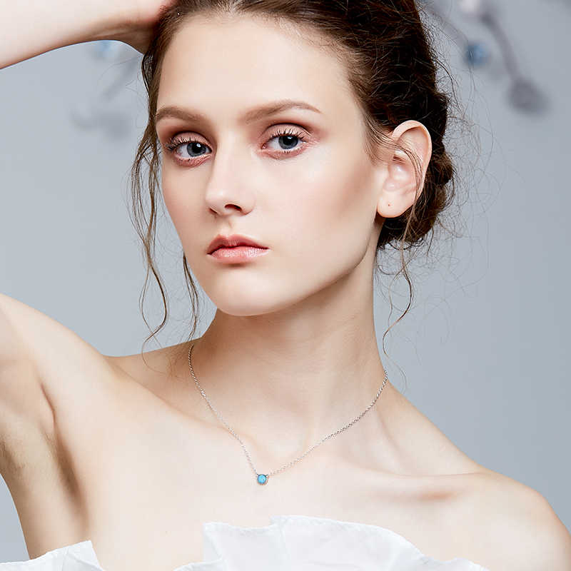 Cdyle 925 серебряное ожерелье с опалами ожерелье из голубого опала Модные женские ювелирные изделия животных модный подарок для ювелирных изделий для женщин