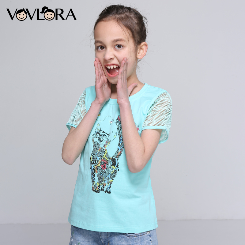 Kids T Shirts Patchwork Mesh Cotton Print Cat Girls T Shirts Animal Short Sleeve  Clothes Summer 2018 Size 7 8 9 10 11 12 Years 9c084078c51d
