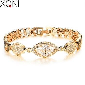 c92c16a20fd0 Xqni lujo oro color cadena pulsera para las mujeres damas brillantes AAA  cúbicos ZIRCON cristal joyería del cumpleaños