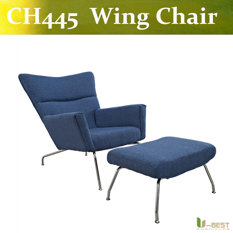 U-BEST replica Hans J Wegner CH445 lounge chair and ottoman Wing chair for hotel furniture , Boss chair