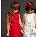 Primavera Crianças Vermelhas Vestidos de Casamento Extravagantes Vestidos Da Menina Outono Traje Menina de Alta Qualidade de Impressão Dos Desenhos Animados Crianças Vestido