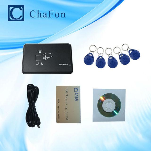 125 khz RFID ID EM Lector de Tarjetas y Escritor y Copiadora/Duplicador (T5557/EM4305/4200) con 5 unids etiqueta de la llave para Control de Acceso