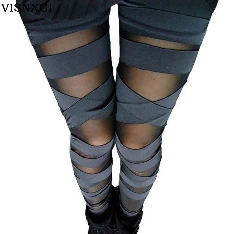 VISNXGI 2019 New   Leggings   Black Lace Cheap Ripped Cut-out Bandage Woman Lady   Legging   Trousers Girl Sexy Leggins Pant Patchwork
