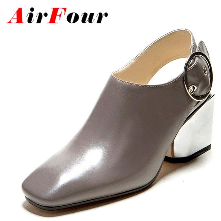 ФОТО Airfour Fashion Women Ball Square Toe High Heels Pumps Women Buckle Shoes Woman Square Toe High Heeled Pumps Dress Shoes