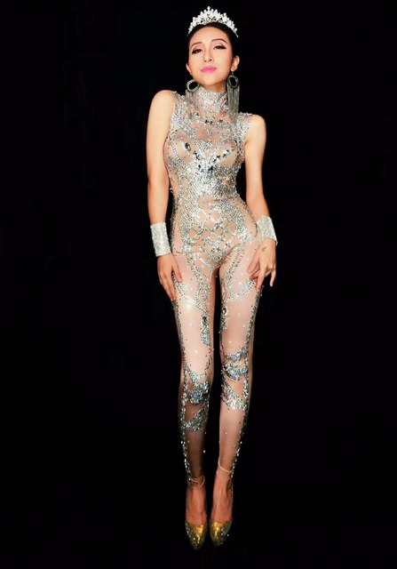 New Sparkly Full Crystals Long Jumpsuits Sexy Shining Rhinestones Bodysuit Women Dance Outfit Nightclub dj Singer Costumes
