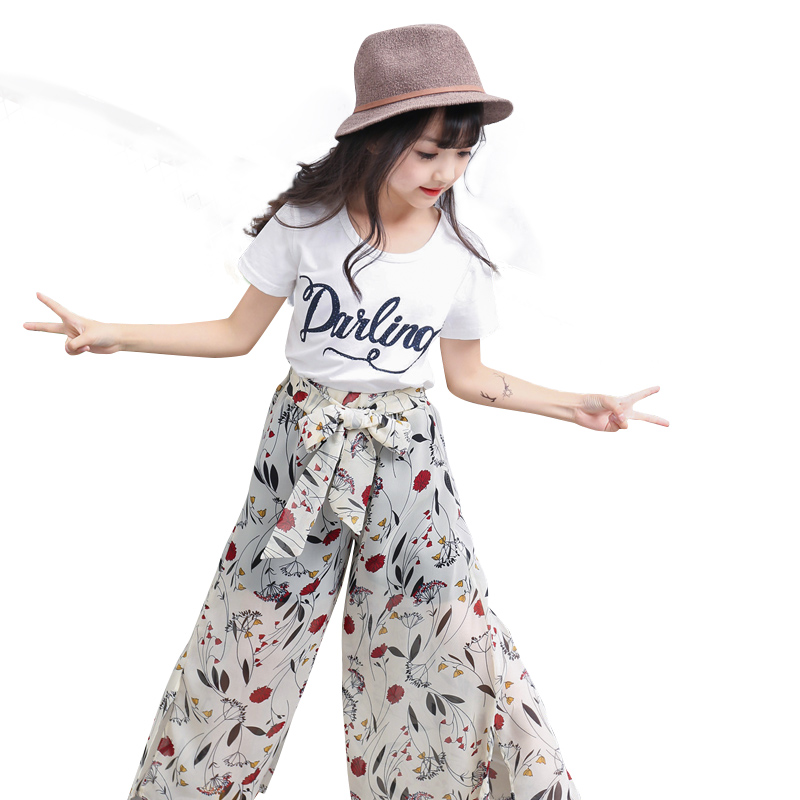 Fashion New Girls Clothing Sets Short Sleeve Shirt+ Chiffon Wide Leg Pants Kids Clothes Sets Kids Clothes 2pcs Girl Summer Sets нера rolsen c2080tsf filter