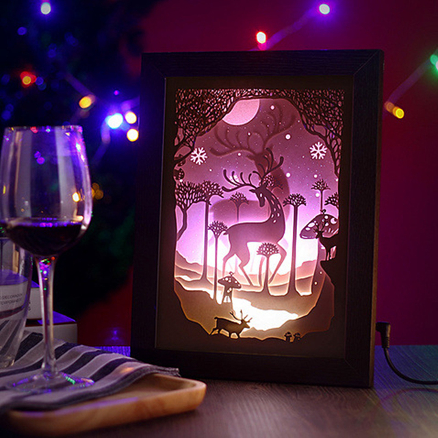 Aliexpress.com : Buy 3D three dimensional Art paper carving elk wall light Home decoration ...