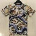 [Amy] free shipping short sleeve o neck casual t-shirt men/women white Rose snake 3d t shirt print tshirts T227 free shipping