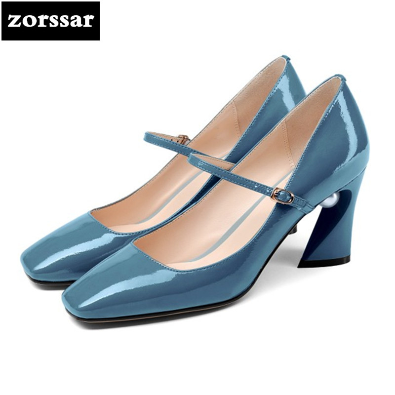 {Zorssar} 2018 New fashion pearl Patent leather womens High heels Square toe shoes thick heel pumps ladies Mary Jane shoes zorssar 2018 new fashion buckle genuine leather thick heel womens shoes heels square toe high heels pumps ladies office shoes