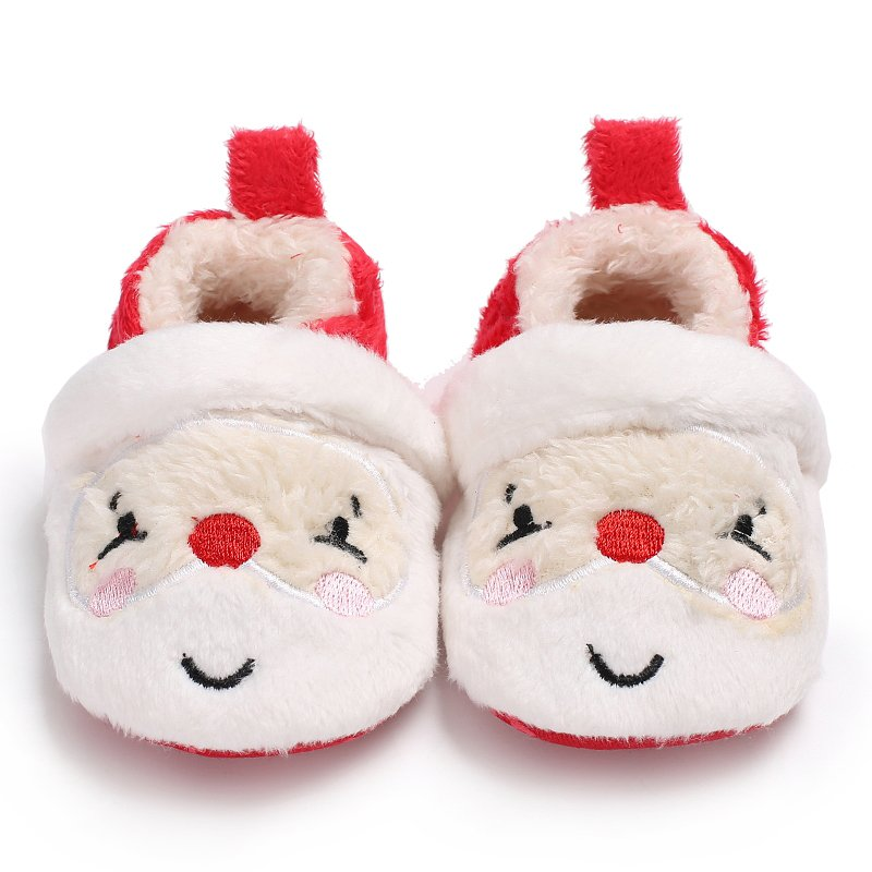 Kawaii Christmas Party Toddler Infant Newborn Christmas Santa Claus Soft Sole First Walkers Prewalkers Girl Boy Baby Shoes S2