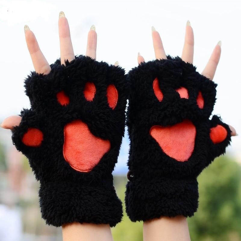 1 Pair Unique Cute Soft Warm Winter  Paw Gloves Fingerless Fluffy Bear Plush Paw Mittens Accessories For Woman