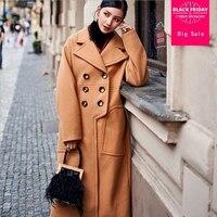 2019 Winter fashion brand warm thicker woolen jacket women personalized custom classic checkered warm woolen coat wj1427