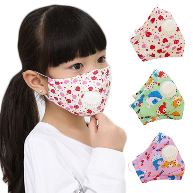 Winter Children Kids Dustproof Washable Cotton N95 Mouth Mask Cartoon Car Strawberry Printed Adjustable Respirator With Breath