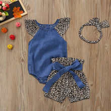 2020 Zomer Baby Sets Baby Baby Meisjes Kleding Set Denim Jumpsuit Romper + Luipaard Print Shorts + Hoofdbanden Outfits Baby kleding(China)