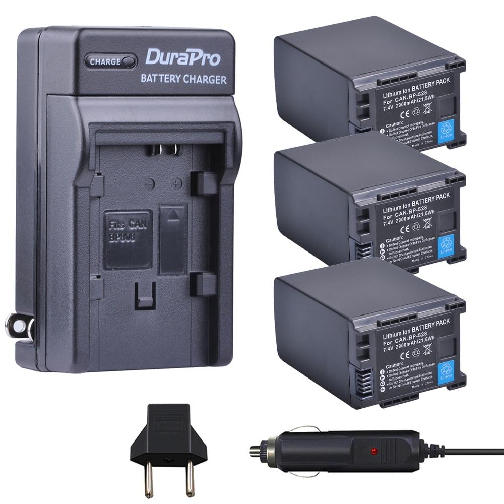3pcs BP-828 BP 828 BP828 Li-ion Battery + Car Charger + EU plug for Canon HFM300 HFM30 HFG30 HFG10 HFM40 HFM400 HFS30 HF20 HG20 bp828 replacement 7 4v 2920mah li ion battery for canon xa25 xa20 hfg30 black