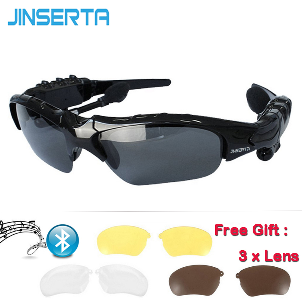 JINSERTA Sports Earphone Wireless Bluetooth Stereo Music Phone Handsfree Sunglasses with Mic for cellphone free gift wireless headphones sunglasses stereo music sun glasses headset handsfree earphone for outside