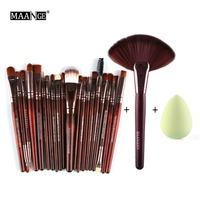 MAANGE 22PCS Cosmetic Makeup Brushes Tool Set Foundation Power Eye Shadow Brow Liner Blending Contour Blush