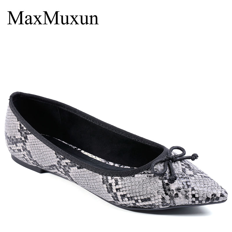 d1f61c72cf MaxMuxun Women Shoes Pointed Toe Bow Embellished Snake Effect Leather Slip  On Classic Ballet Flats