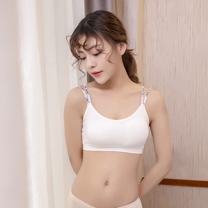 Stylish Comfortable Letter Shoulder Strap Underwear Bras Short Tops with Detachable Chest Pad Tube Tops Wrapped Chest in Tube Tops from Underwear Sleepwears