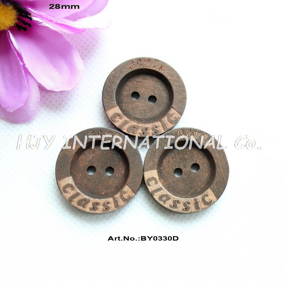 (60pcs/lot) 28mm Classic style Wood Button Round Wooden Clothing Sewing Buttons Brown Color 1.1 -BY0330D