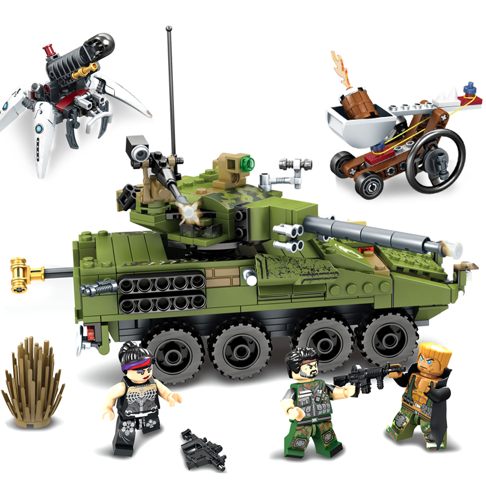 438pcs Military Army tank Chariot soldier Weapon Compatible Legoed technic Educational Building Blocks bricks Toys For Children ausini95 automatic rifle military arms building blocks educational toys for children plastic bricks best friend legoe compatible