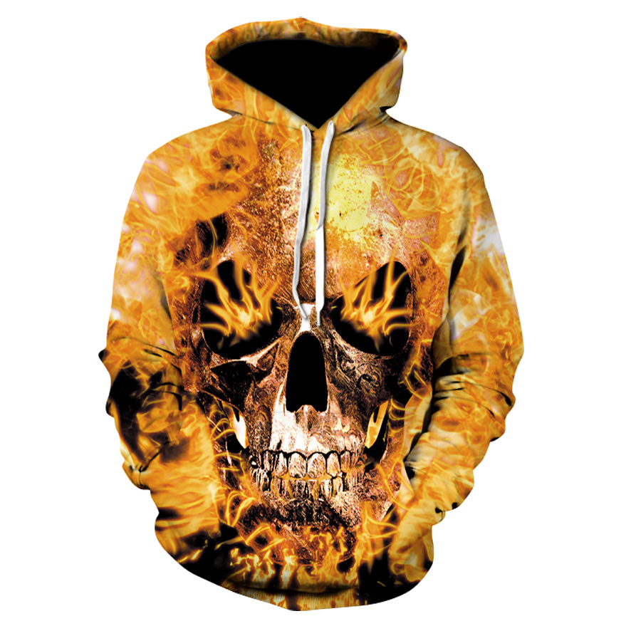 Autumn and winter 3D thin men's hooded sweatshirt 2018 new flame skull fashion hooded pullover High quality casual hoodie S-6XL