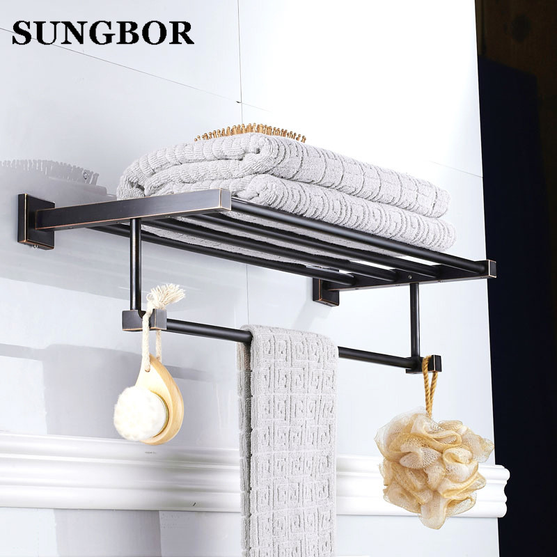 Black towel rack Black us style bathroom towel shelf bath bathroom rack bathroom towel holder black Double towel shelf GJ-60912H batroom golden crystal double cup holder bathroom double cup rack holder hardware bath sets bathroom accessories