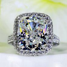 Sz6-10 kussen gesneden 10 * 12mm Topaz gesimuleerde Diamond Victoria Engagement 14 K White Gold Filled vrouwen bruiloft zilveren Band Ring