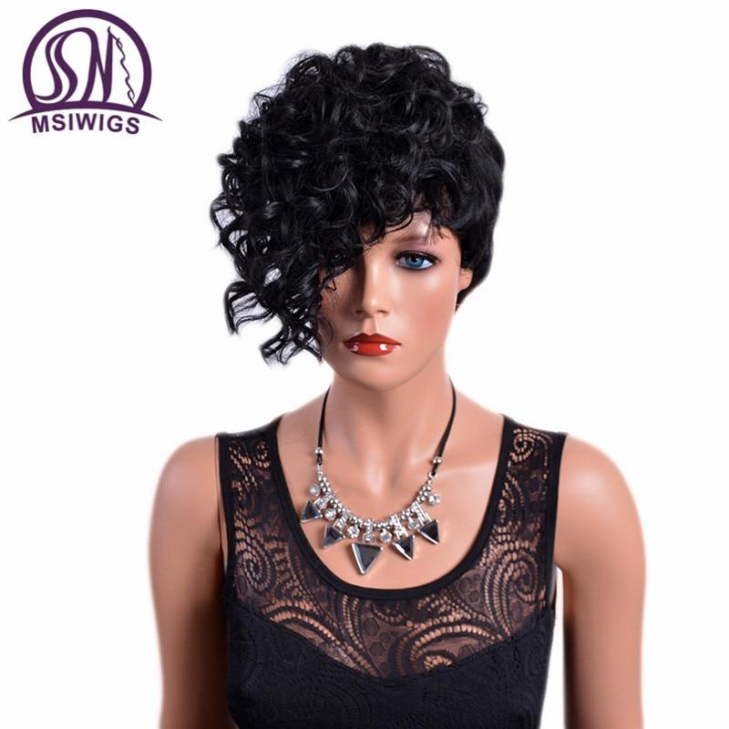 MSIWIGS Avant Bouclés Droite Droite Courte Perruques avec Bangs Naturel Noir Synthétique Cheveux Afro Perruque pour Femmes Haute Température Fibre