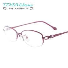 Small Metal Women Spectacles  Half Rim Colourful Fashion Glasses Frame For Prescription Lenses
