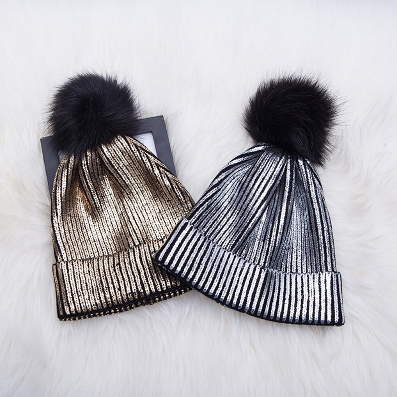 Women Girls Winter Warm Metallic Shiny Knitted Crochet   Beanie   Hat With Pom Pom