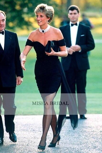 Princess Diana Black Off The Shoulder Short Mini Chiffon
